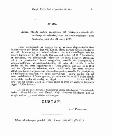 Omslaget till prop. 1916:205