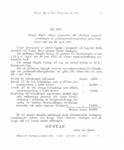 Omslaget till prop. 1916:207
