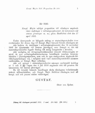 Omslaget till prop. 1916:209
