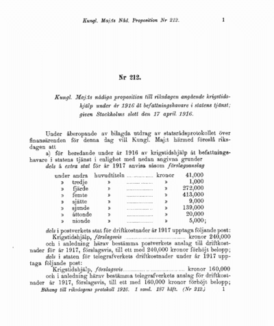 Omslaget till prop. 1916:212
