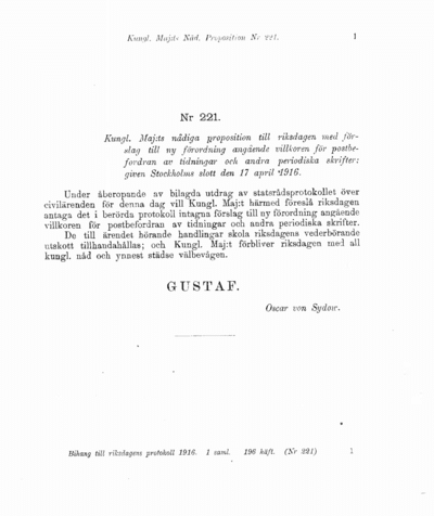 Omslaget till prop. 1916:221
