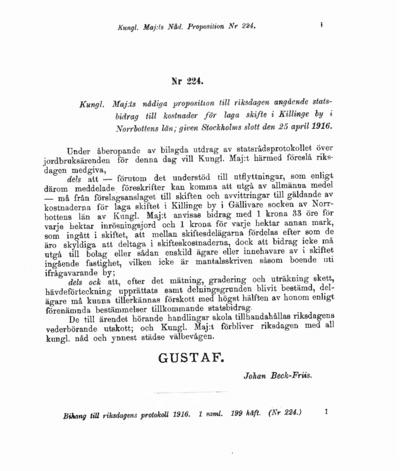 Omslaget till prop. 1916:224