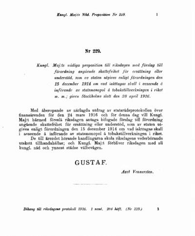 Omslaget till prop. 1916:229