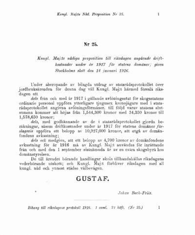 Omslaget till prop. 1916:25