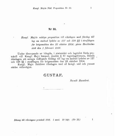Omslaget till prop. 1916:33