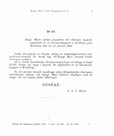 Omslaget till prop. 1916:47