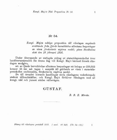 Omslaget till prop. 1916:54