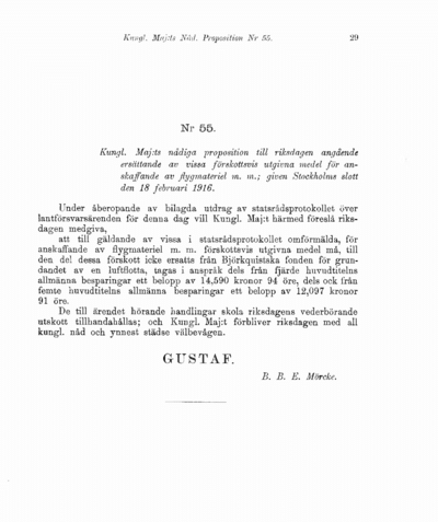 Omslaget till prop. 1916:55