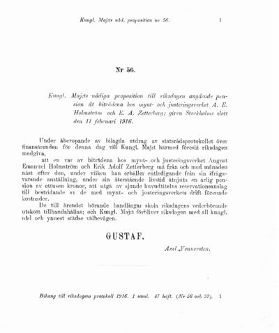 Omslaget till prop. 1916:56