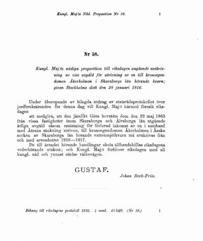 Omslaget till prop. 1916:58