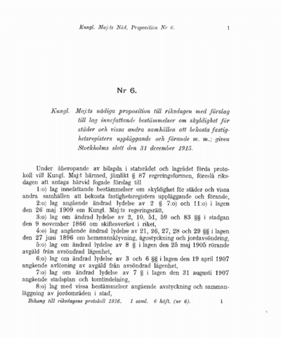 Omslaget till prop. 1916:6