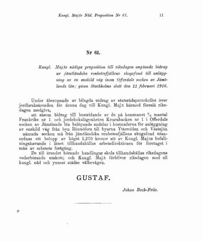 Omslaget till prop. 1916:61