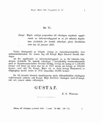 Omslaget till prop. 1916:71