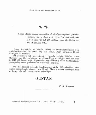 Omslaget till prop. 1916:78