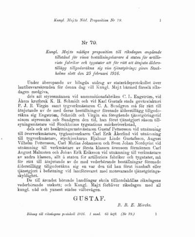 Omslaget till prop. 1916:79