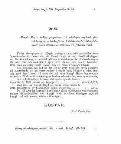 Omslaget till prop. 1916:85