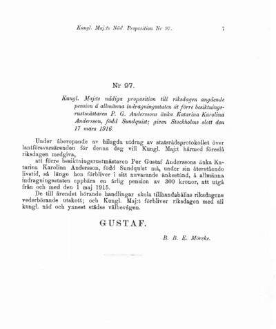 Omslaget till prop. 1916:97