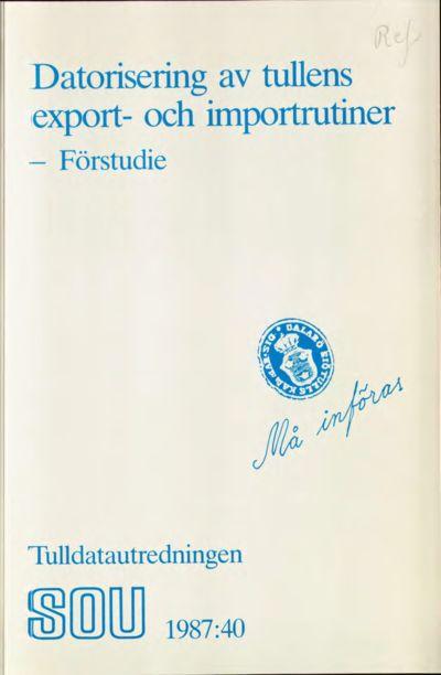 Omslaget till SOU 1987:40
