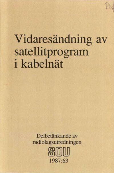 Omslaget till SOU 1987:63