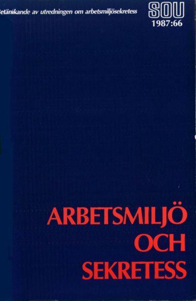 Omslaget till SOU 1987:66