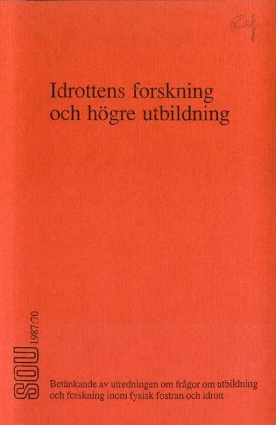 Omslaget till SOU 1987:70
