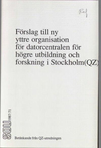 Omslaget till SOU 1987:71
