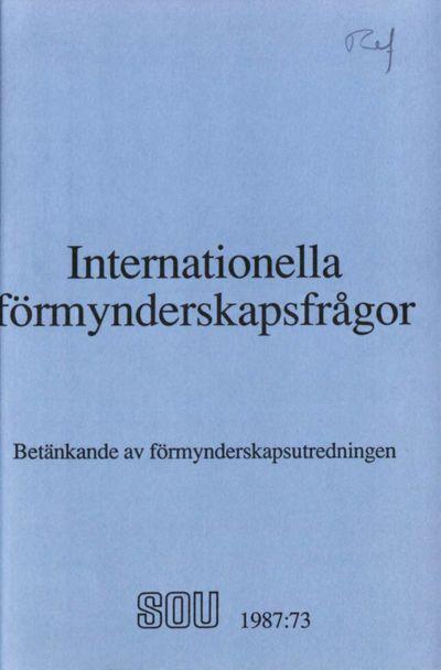 Omslaget till SOU 1987:73