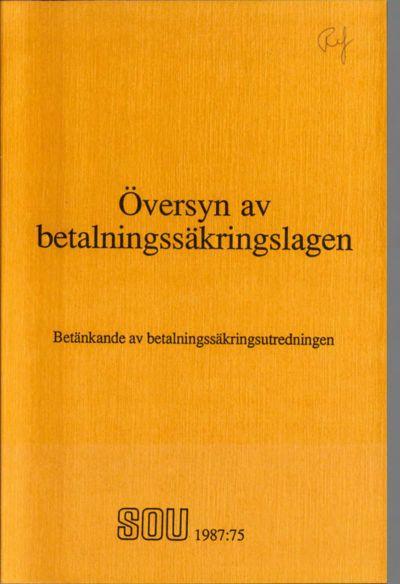 Omslaget till SOU 1987:75