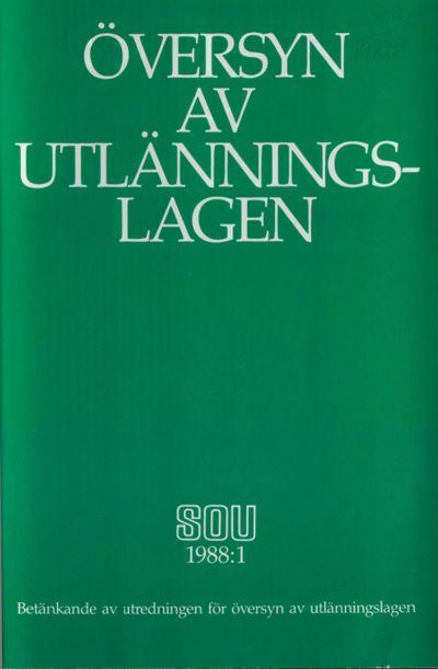 Omslaget till SOU 1988:1