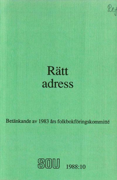 Omslaget till SOU 1988:10