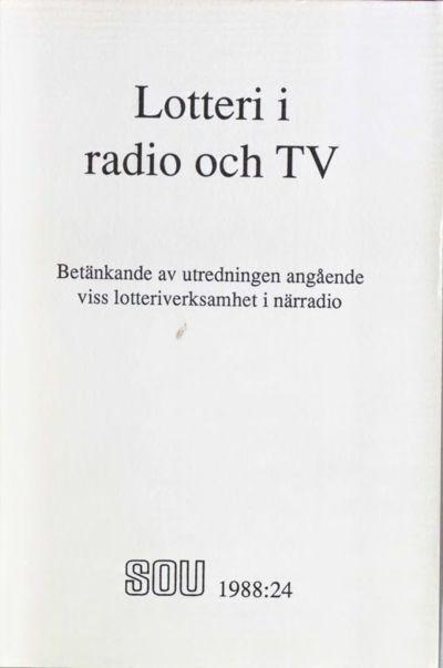 Omslaget till SOU 1988:24