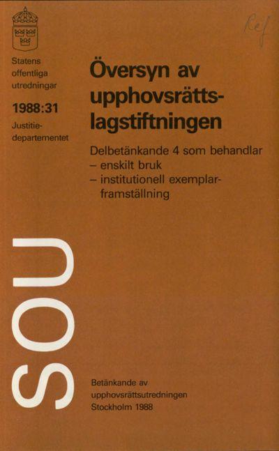 Omslaget till SOU 1988:31