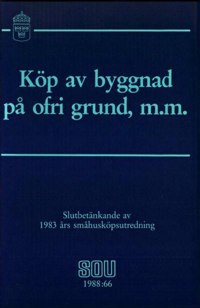 Omslaget till SOU 1988:66