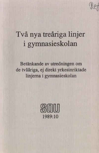 Omslaget till SOU 1989:10