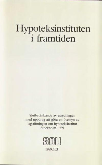 Omslaget till SOU 1989:103