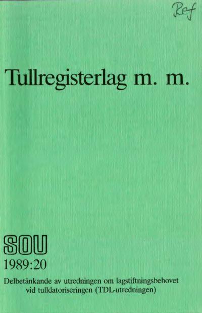 Omslaget till SOU 1989:20
