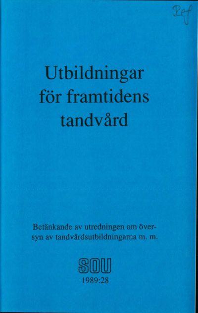 Omslaget till SOU 1989:28