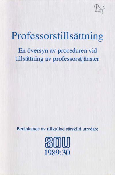 Omslaget till SOU 1989:30