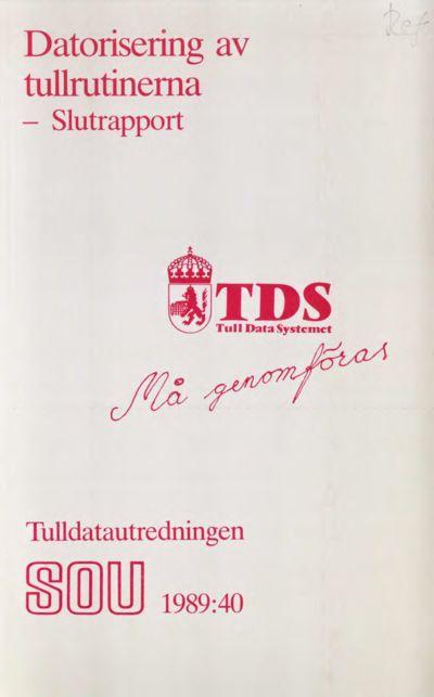 Omslaget till SOU 1989:40