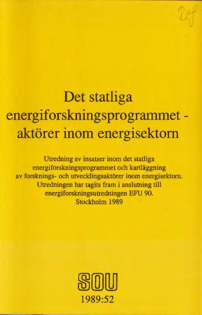 Omslaget till SOU 1989:52