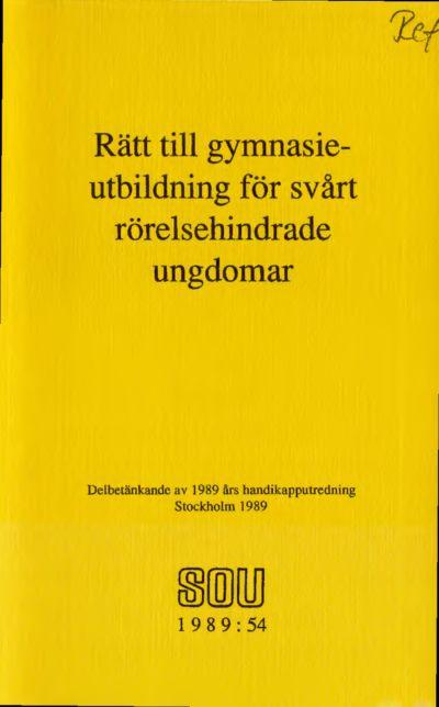 Omslaget till SOU 1989:54