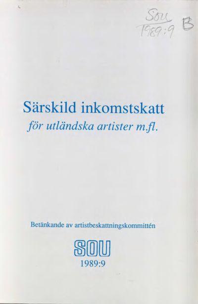 Omslaget till SOU 1989:9