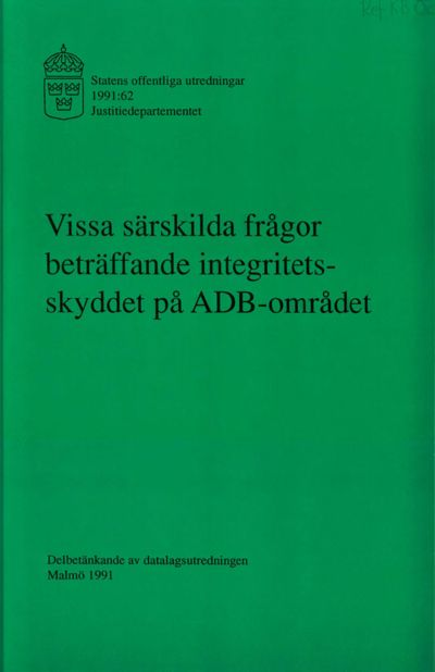 Omslaget till SOU 1991:62