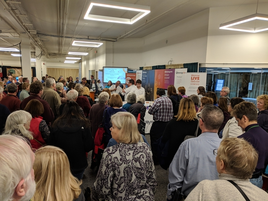 The Exhibits Hall was busy most of the time but especially when doorprizes were being announced. This shows the crowd around the MyHeritage booth.