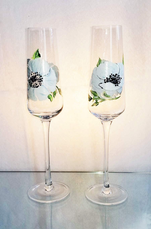 hand painted wine glasses with anemones - BatikShirtShop