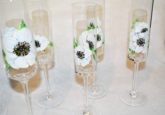 hand painted champagne glasses with Anemones from BatikShirtShop
