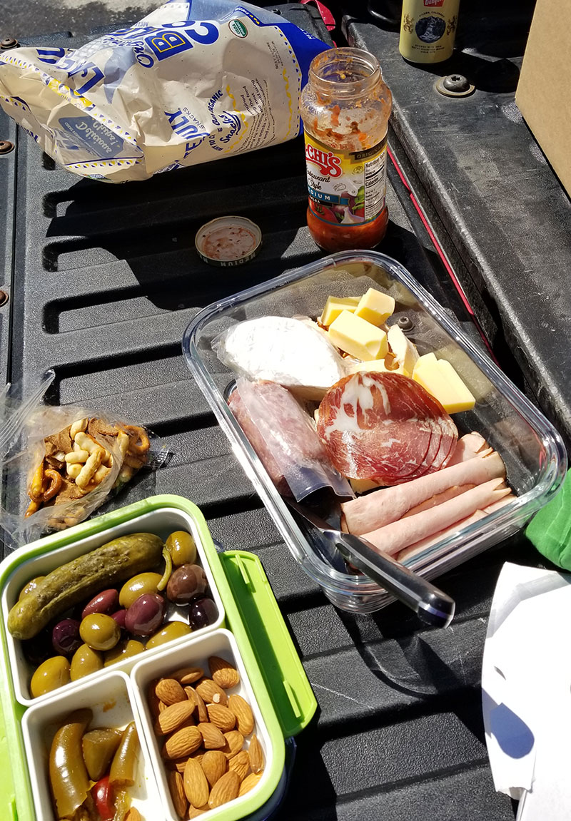Charcuterie lunch on a tailgate