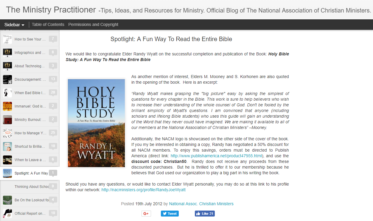 , NACM Minister Randy Wyatt Publishes Fun Bible Study, National Association of Christian Ministers