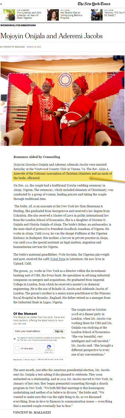 NY Times Notes NACM Minister Officiating High Profile Wedding
