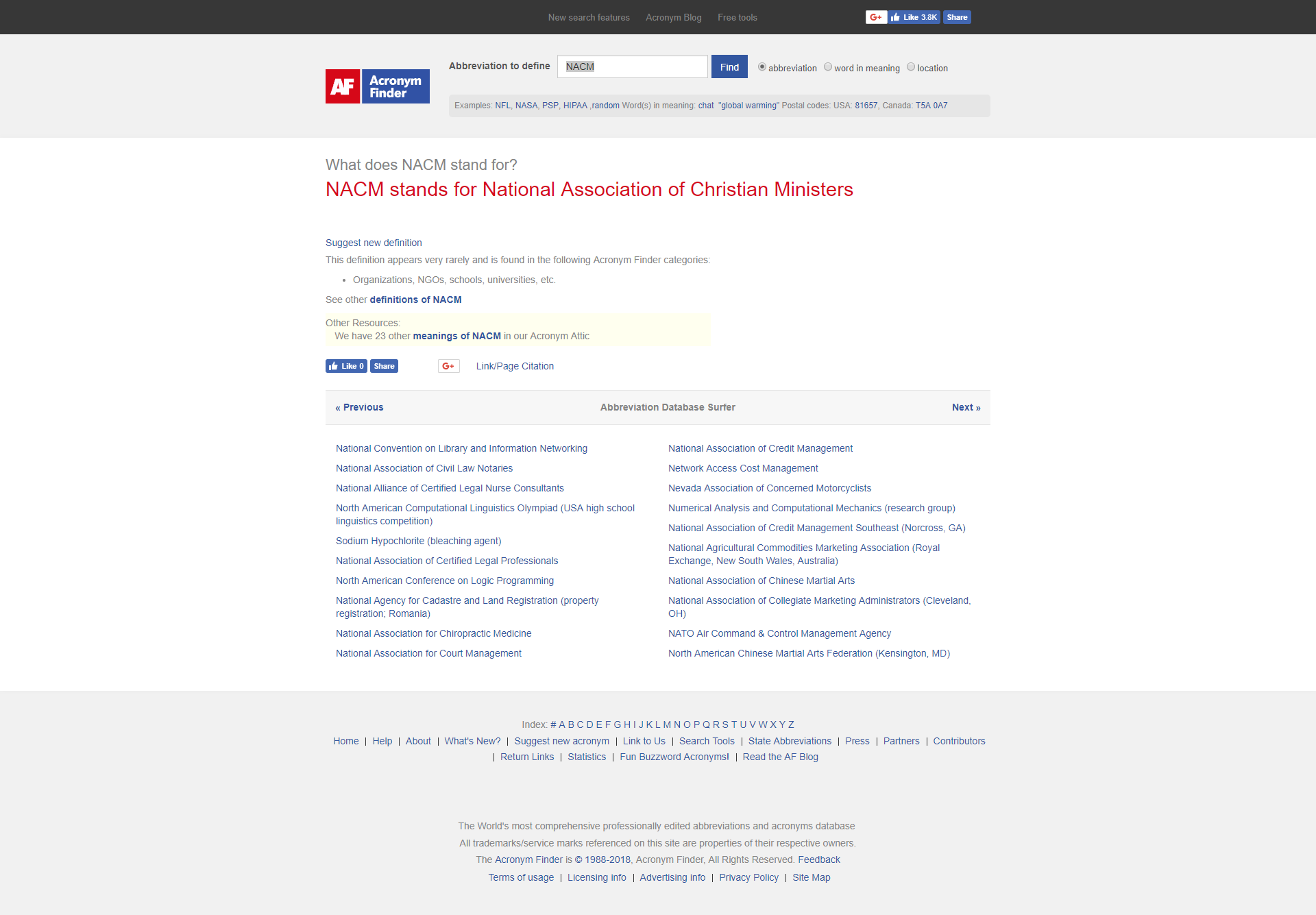 Acronym Finder Lists NACM as Standing for National Association of Christian Ministers